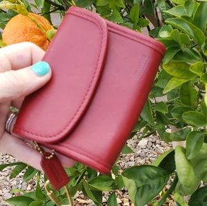 Coach EUC red leather vintage wallet